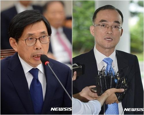 박상기 법무부장관 후보자(좌측), 문무일 검찰총장 후보자(사진=뉴시스)